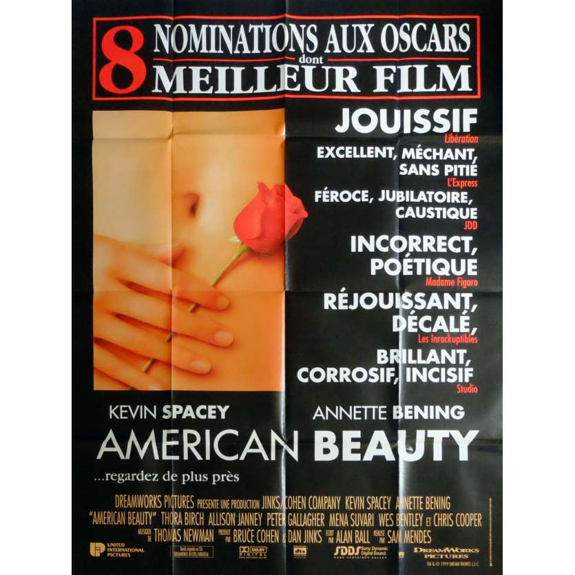 AMERICAN BEAUTY Movie Poster 47x63 in. French - 1999 - Sam Mendes, Kevin Spacey