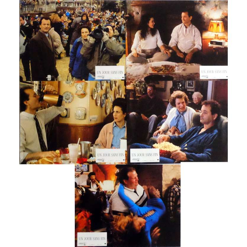 GROUNDHOG DAY Lobby Cards x5 9x12 in. French - 1993 - Harold Ramis, Bill Murray