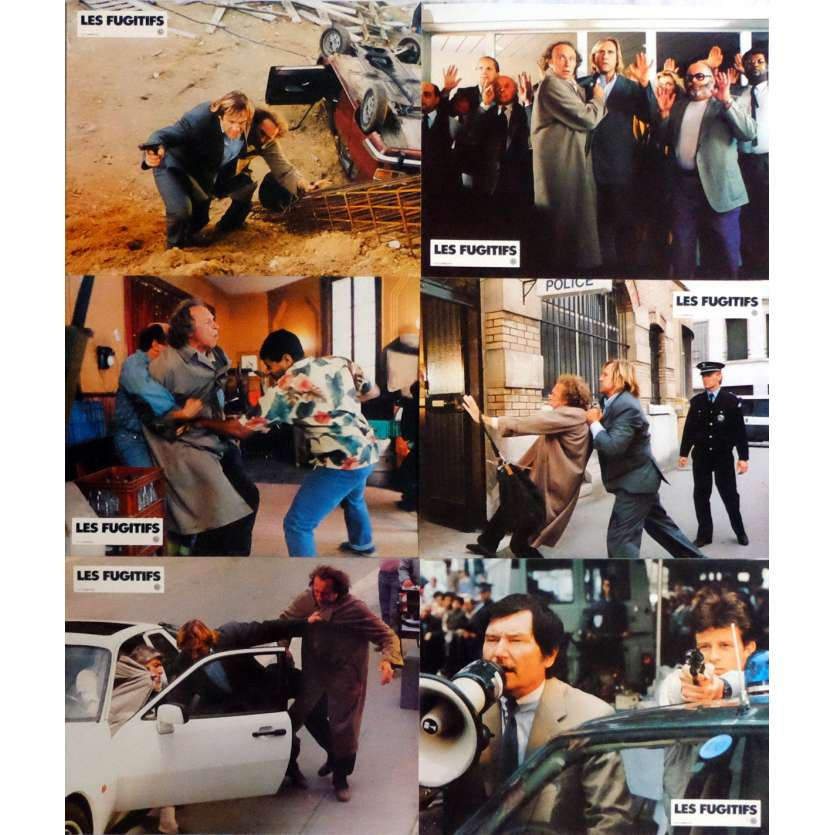 LES FUGITIFS Lobby Cards x6 9x12 in. French - 1986 - Francis Weber, Gérard Depardieu