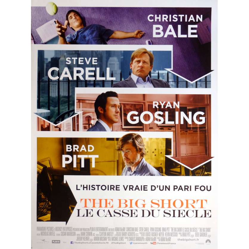 THE BIG SHORT Movie Poster 15x21 in. French - 2015 - Adam McKay, Christian Bale