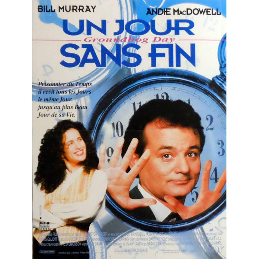 GROUNDHOG DAY Movie Poster 15x21 in. French - 1993 - Harold Ramis, Bill Murray