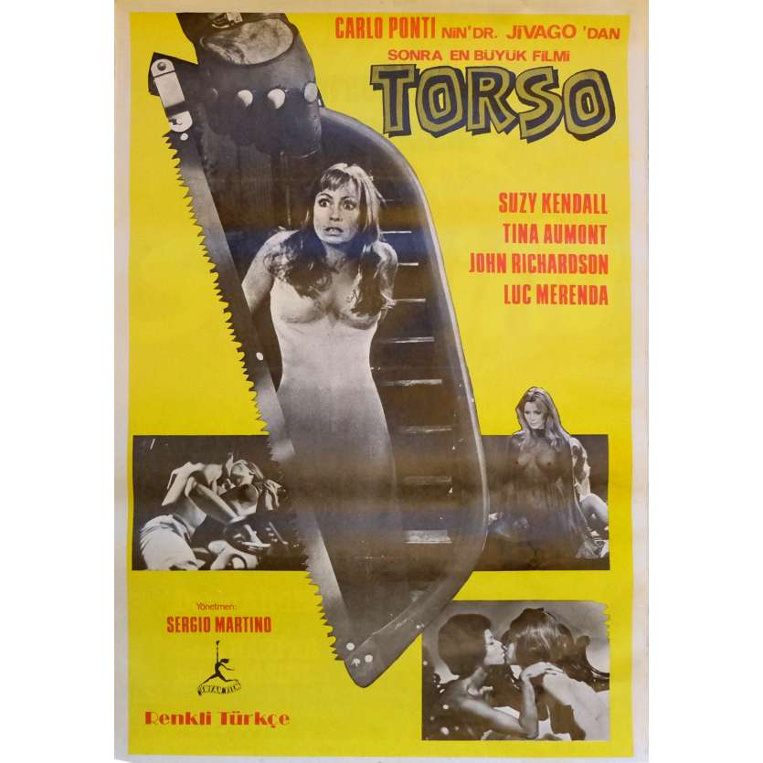 TORSO Movie Poster 29x40 in. Turkish - 1973 - Sergio Martino, Suzy Kendall
