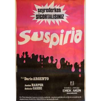 SUSPIRIA Movie Poster 29x40 in. Turkish - 1977 - Dario Argento, Jessica Harper
