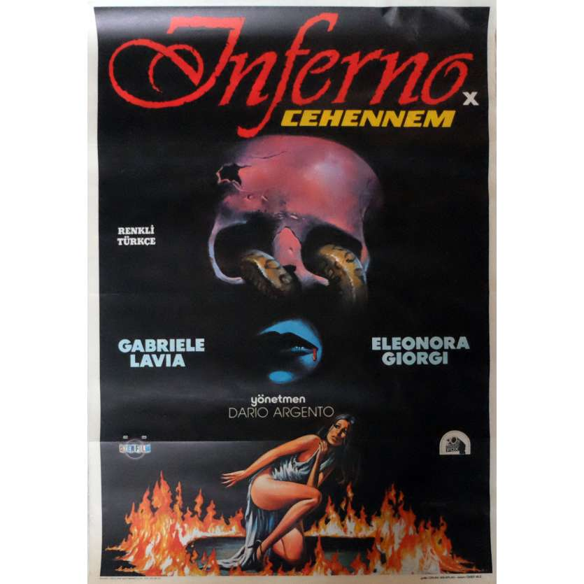 INFERNO Movie Poster 29x40 in. Turkish - 1980 - Dario Argento, Daria Nicolodi