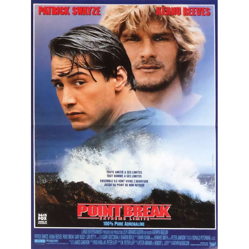 POINT BREAK Movie Poster 15x21 in. French - 1991 - Kathryn Bigelow, Patrick Swayze