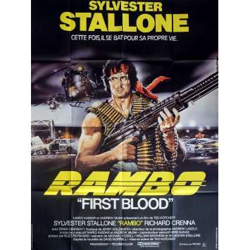 FIRST BLOOD Movie Poster 47x63 in. French - 1982 - Ted Kotcheff, Sylvester Stallone