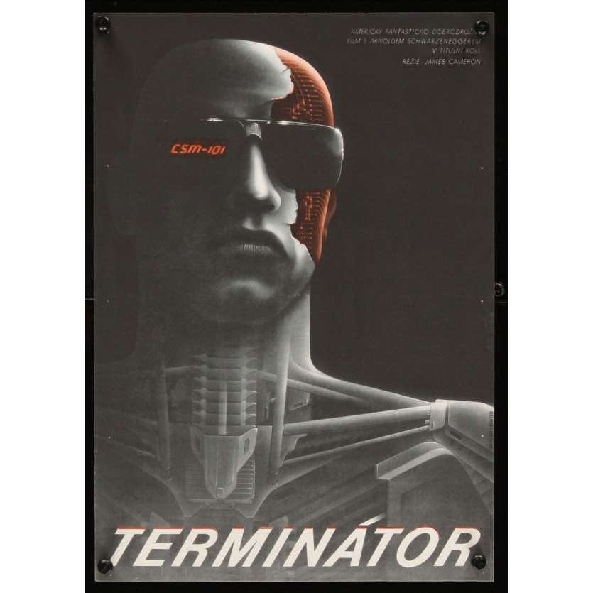 TERMINATOR Czech 11x16 '84 best different art of cyborg Arnold Schwarzenegger by Pecak!