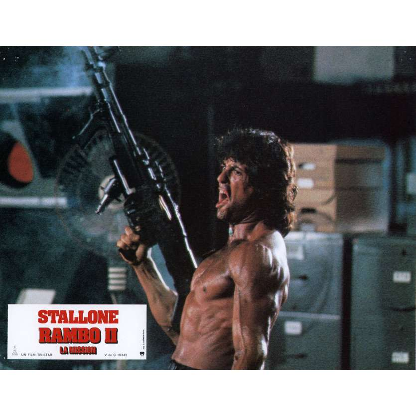 RAMBO FIRST BLOOD PART II Lobby Card N8 9x12 in. French - 1985 - George P. Cosmatos, Sylvester Stallone