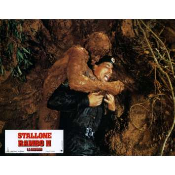 RAMBO FIRST BLOOD PART II Lobby Card N7 9x12 in. French - 1985 - George P. Cosmatos, Sylvester Stallone