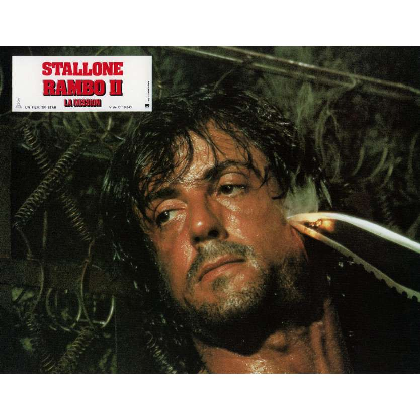 RAMBO FIRST BLOOD PART II Lobby Card N6 9x12 in. French - 1985 - George P. Cosmatos, Sylvester Stallone