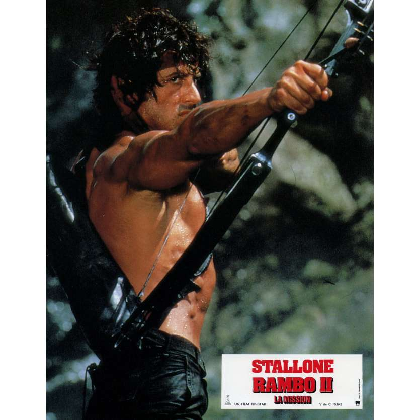 RAMBO FIRST BLOOD PART II Lobby Card N2 9x12 in. French - 1985 - George P. Cosmatos, Sylvester Stallone