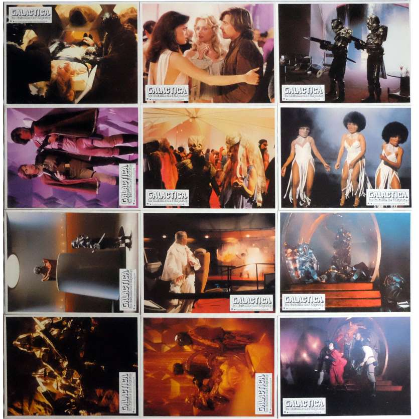 BATTLESTAR GALACTICA Lobby Cards Jeu A, x12 9x12 in. French - 1978 - Glen A. Larson, Dirk Benedict