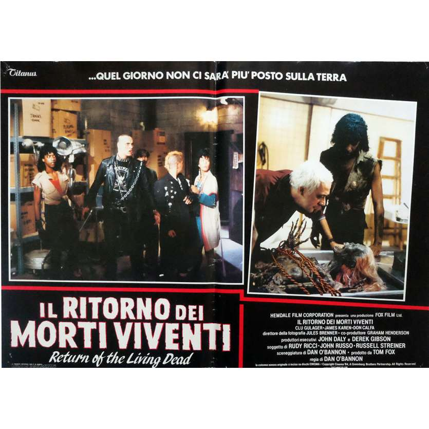 THE RETURN OF THE LIVING DEAD Photobusta Poster x5 dont une double 18x26 in. Italian - 1985 - Dan O'Bannon, Clu Gulager