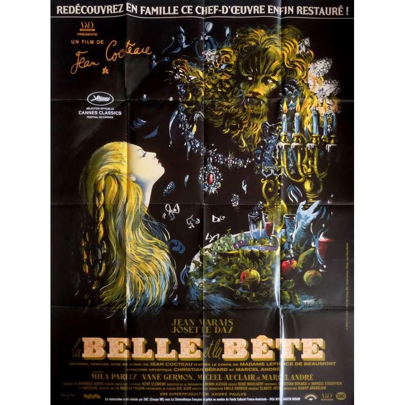LA BELLE ET LA BETE Affiche de film 120x160 R2013 Jean Cocteau, Jean Marais