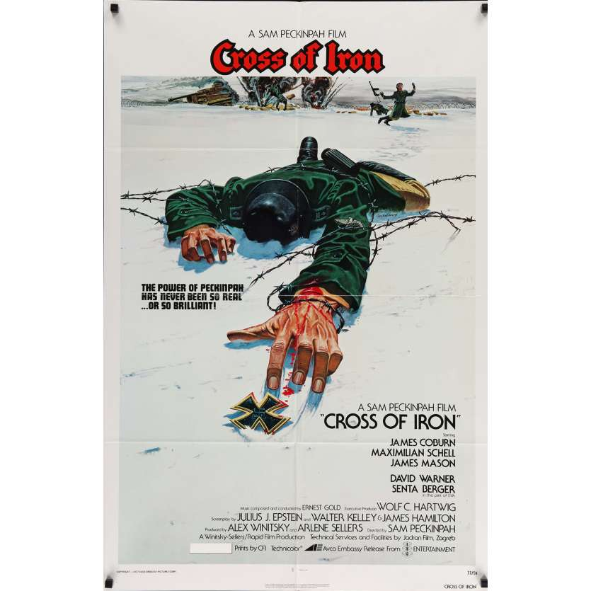 CROSS OF IRON Movie Poster 29x41 in. USA - 1977 - Sam Peckinpah, James Coburn