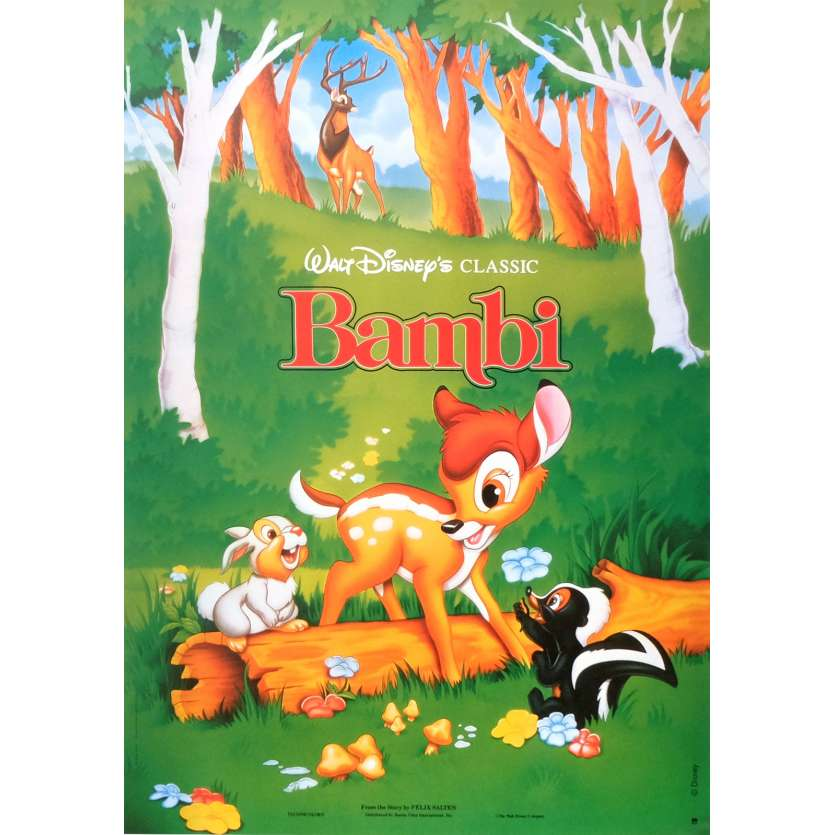BAMBI Movie Poster 15x21 in. French - R1980 - Walt Disney, Hardie Albright