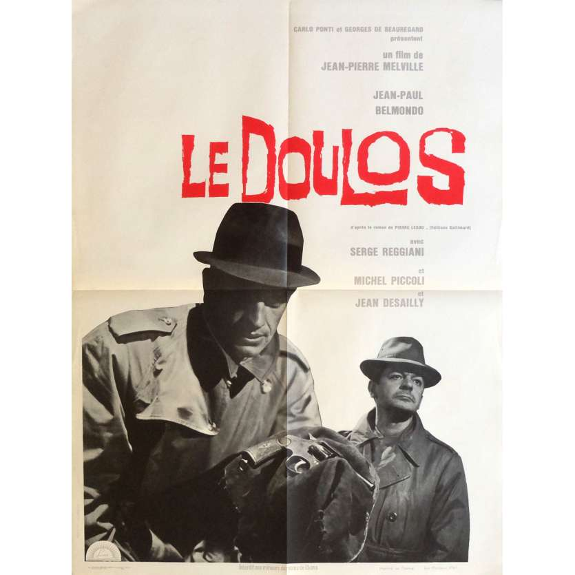 LE DOULOS / THE FINGER MAN Movie Poster 23x32 in. French - 1962 - Jean-Pierre Melville, Jean-Paul Belmondo