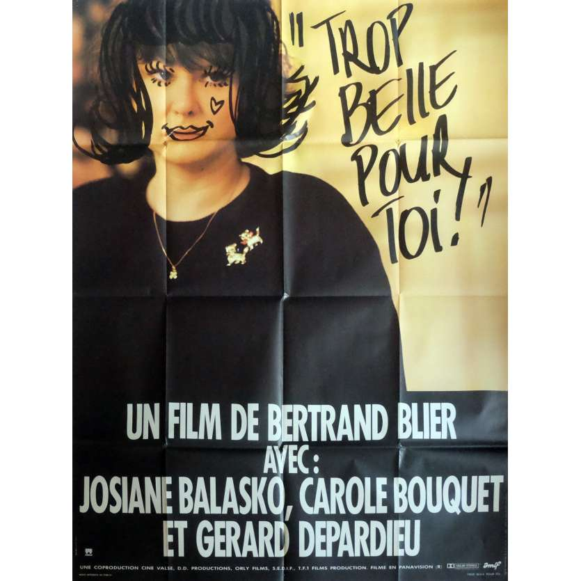 TOO BEAUTIFUL FOR YOU Movie Poster 47x63 in. French - 1989 - Bertrand Blier, Gérard Depardieu