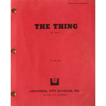 THE THING Movie Script 9x12 in. USA - 1982 - John Carpenter, Kurt Russel