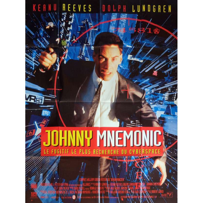 JOHNNY MNEMONIC Movie Poster 47x63 in. French - 1995 - Robert Longo, Keanu Reeves