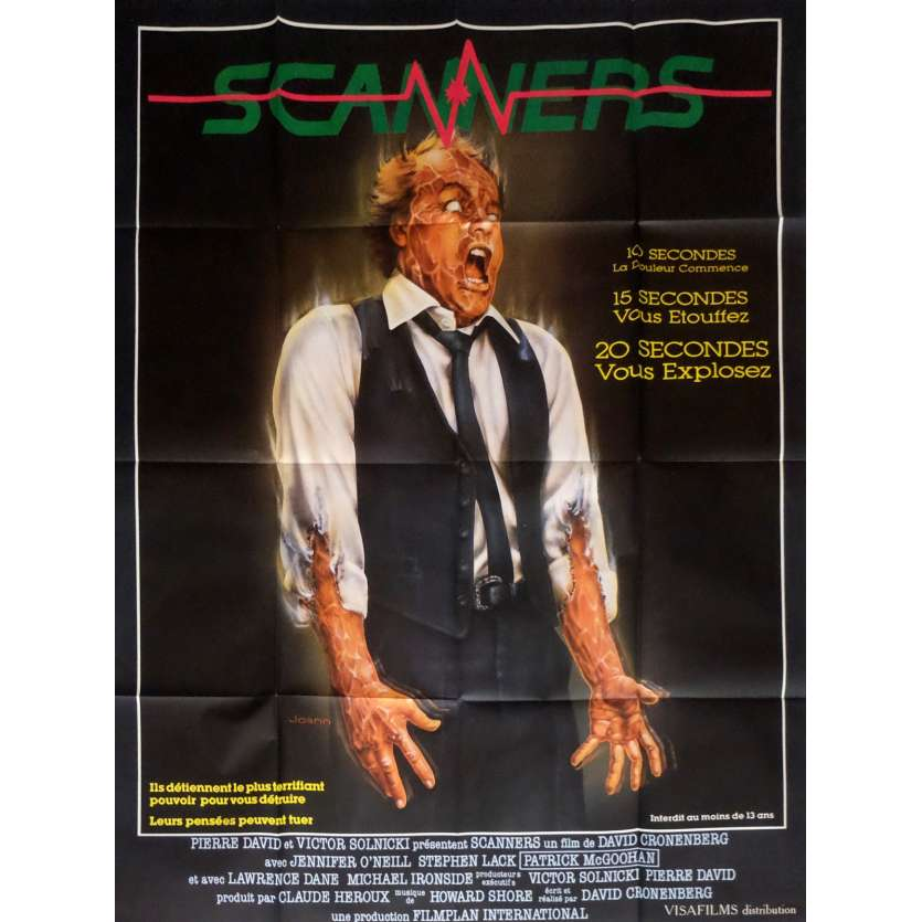 SCANNERS French Movie Poster '81 Cronenberg 47x63 Horror