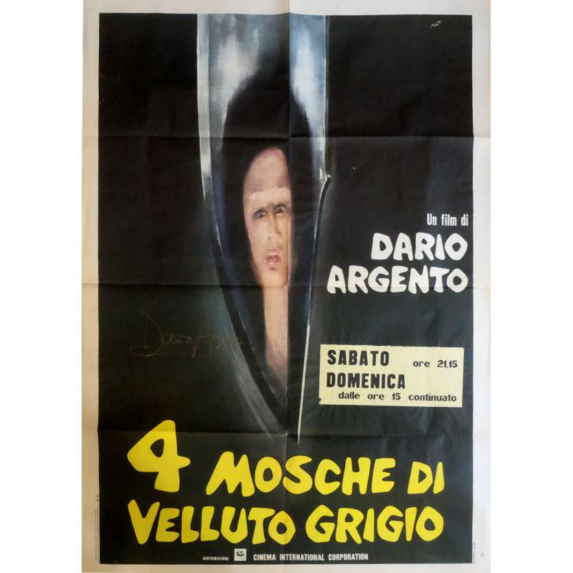FOUR FLIES Signed Poster 39x55 in. Italian - 1971 - Dario Argento, Jean-Pierre Marielle