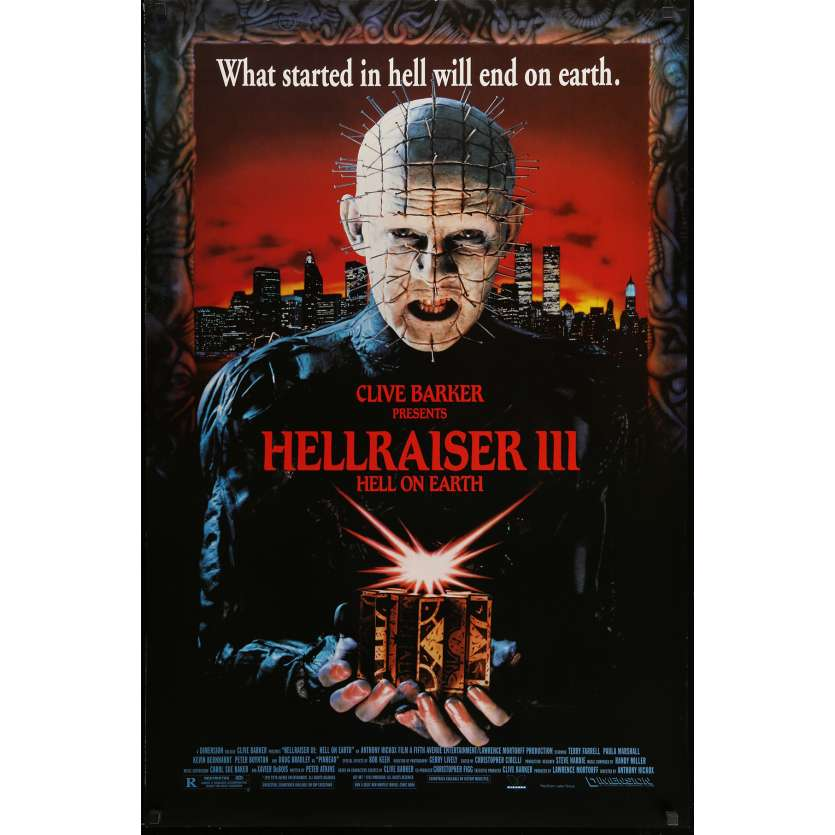 HELLRAISER III HELL ON EARTH Movie Poster 29x41 in. USA - 1992 - Anthony Hckox, Doug Bradley