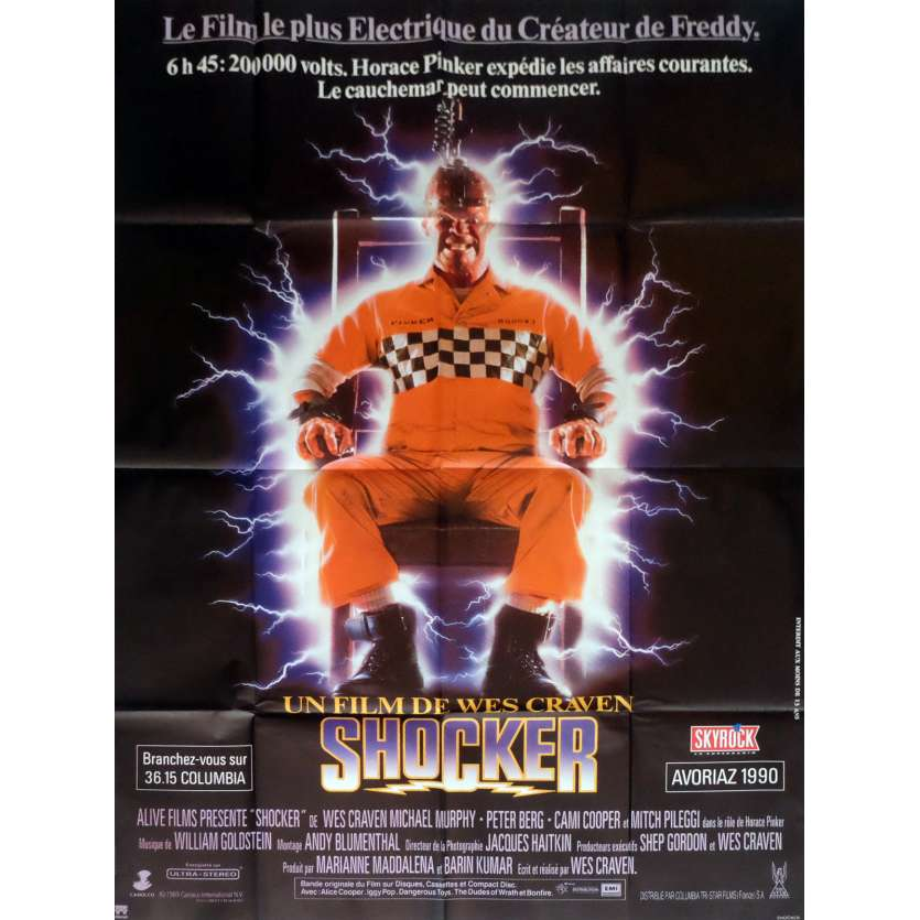 SHOCKER Movie Poster 47x63 in. French - 1989 - Wes Craven, Mitch Pileggi