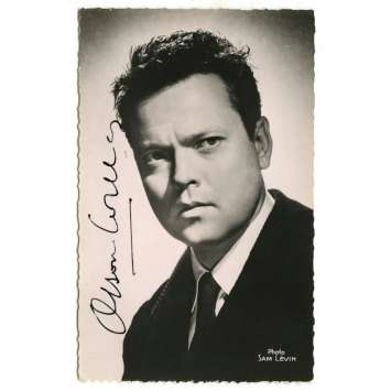 ORSON WELLES Signed Postcard 3,5x5,5 in. - 1960's