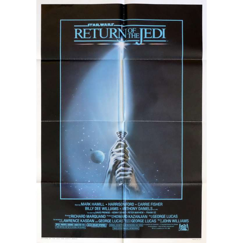 STAR WARS - RETURN OF THE JEDI US Movie Poster Lightsaber 29x41 - 1983 - Richard Marquand, Harrison Ford