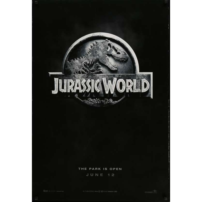 JURASSIC WORLD Movie Poster Logo 29x40 in. - 2015 - Colin Trevorrow, Chris Pratt