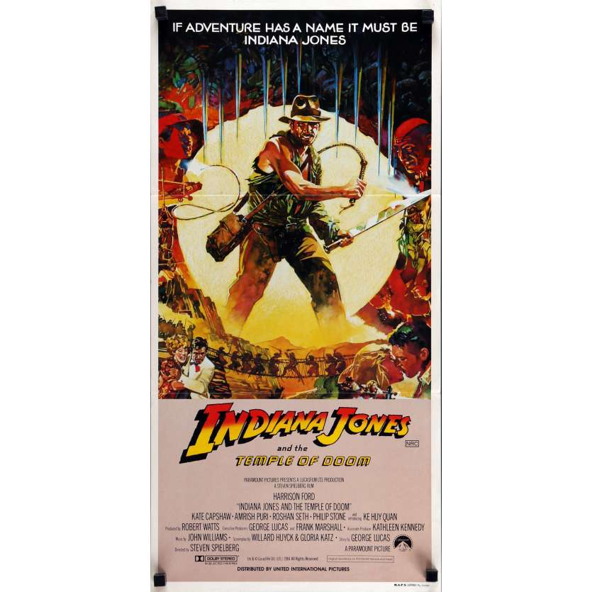 INDIANA JONES AND THE TEMPLE OF DOOM Movie Poster 13x28 in. - 1984 - Steven Spielberg, Harrison Ford