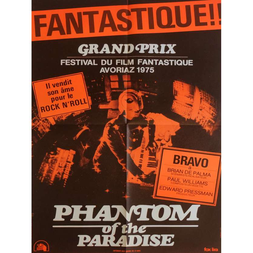 PHANTOM OF THE PARADISE Affiche de film Orange 60x80 cm - 1974 - Paul Williams, Brian de Palma