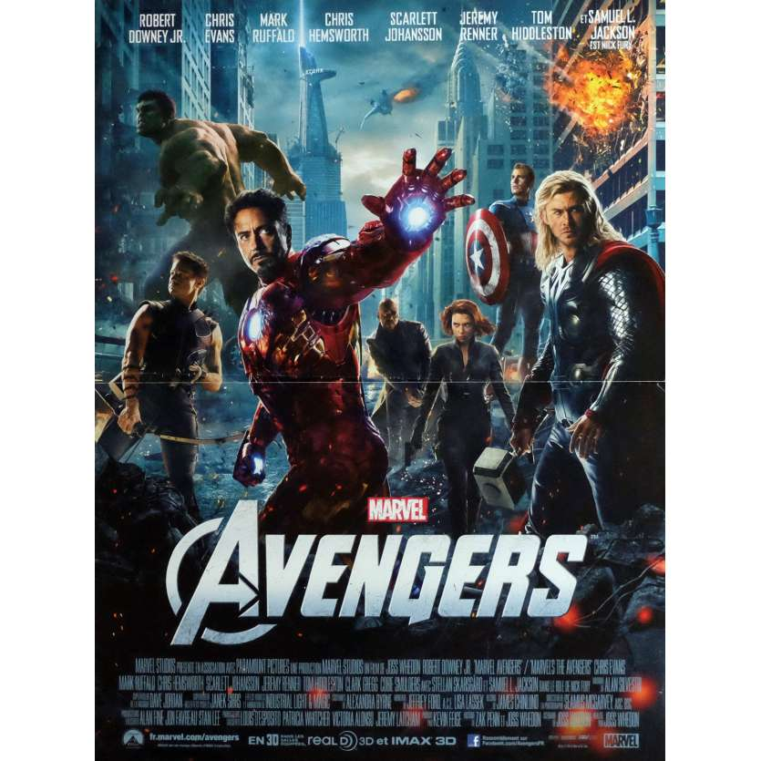 THE AVENGERS Movie Poster 15x21 in. - 2012 - Joss Whedon, Robert Downey Jr.