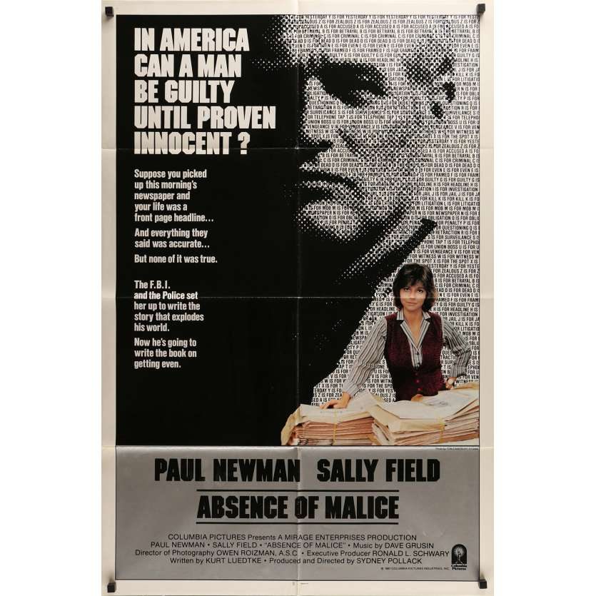 ABSENCE OF MALICE Movie Poster 29x41 in. - 1981 - Sydney Pollack, Paul Newman
