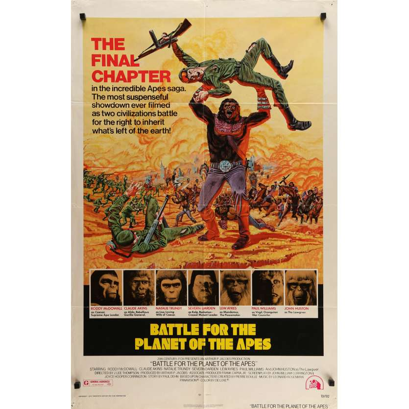 BATTLE FOR THE PLANET OF THE APES Movie Poster 29x41 in. - 1973 - J. Lee Thompson, Roddy McDowall