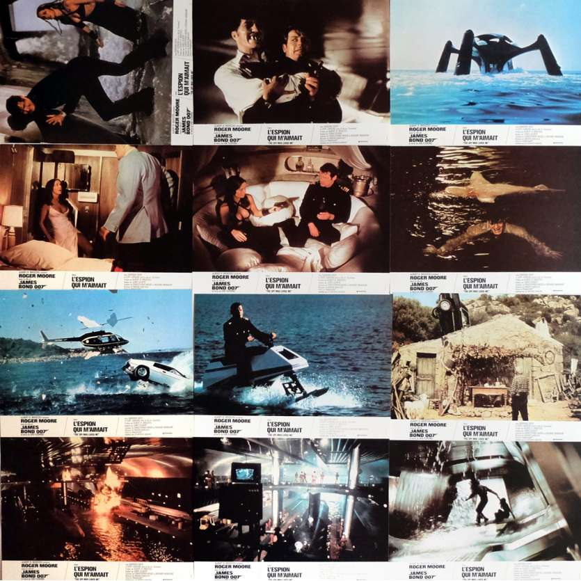 THE SPY WHO LOVED ME Lobby Cards x12 9x12 in. - 1977 - Lewis Gilbert, Roger Moore