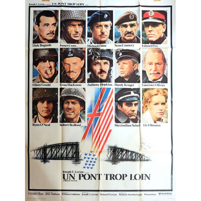 UN PONT TROP LOIN Affiche de film 120x160 cm - 1977 - Sean Connery, Richard Attenborough