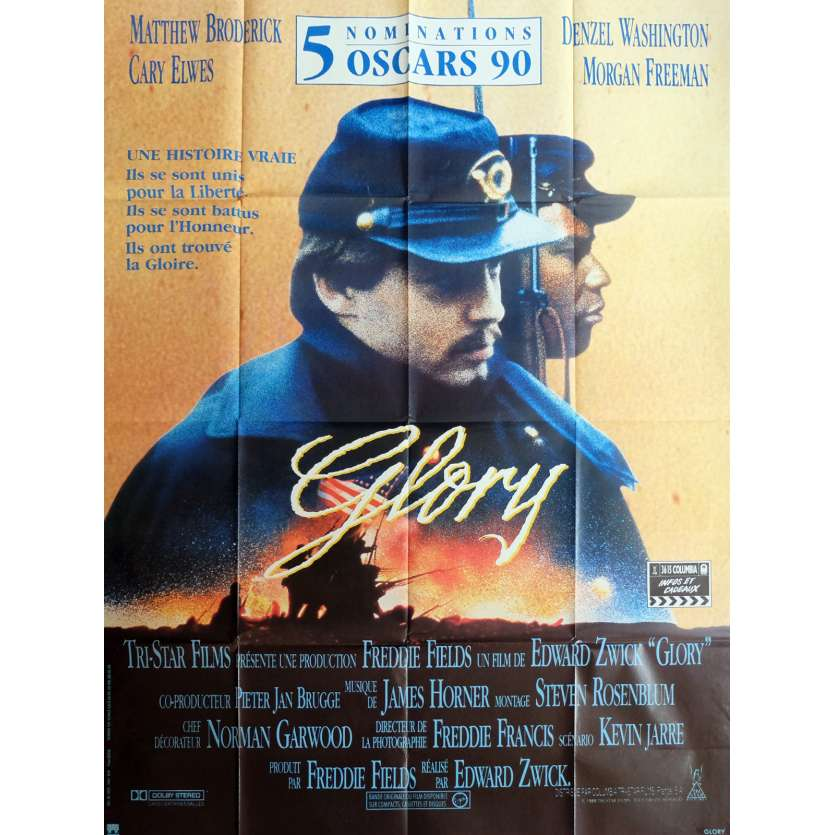GLORY Movie Poster 47x63 in. - 1989 - Edward Zwick, Denzel Washington