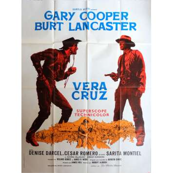 VERA CRUZ French 1p '55 great close up artwork of cowboys Gary Cooper & Burt Lancaster