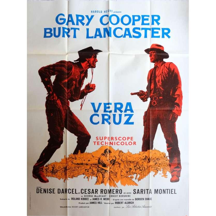 VERA CRUZ Affiche 120x160 Gary Cooper, Burt Lancaster '54 Vintage Movie Poster
