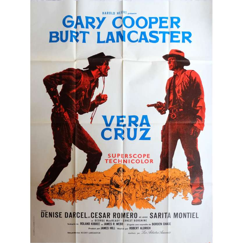 VERA CRUZ French 1p '55 great close up artwork of cowboys Gary Cooper & Burt Lancaster