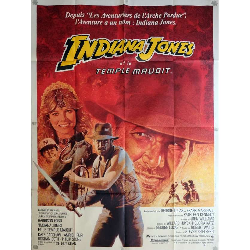 INDIANA JONES French Movie Poster 47x63 - 1984 - Steven Spielberg, Harrison Ford