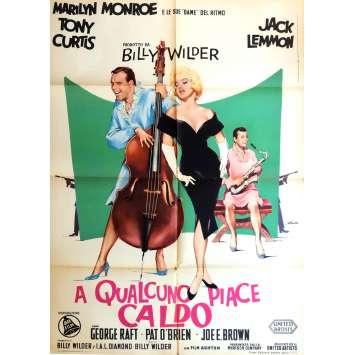 SOME LIKE IT HOT Italian Movie Poster - 1959 - 49x55 - Billy Wilder, Marylin Monroe