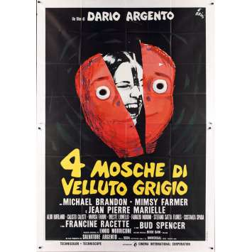 FOUR FLIES ON GREY VELVET Italian 2p '71 Dario Argento, different art by Ercole Brini!