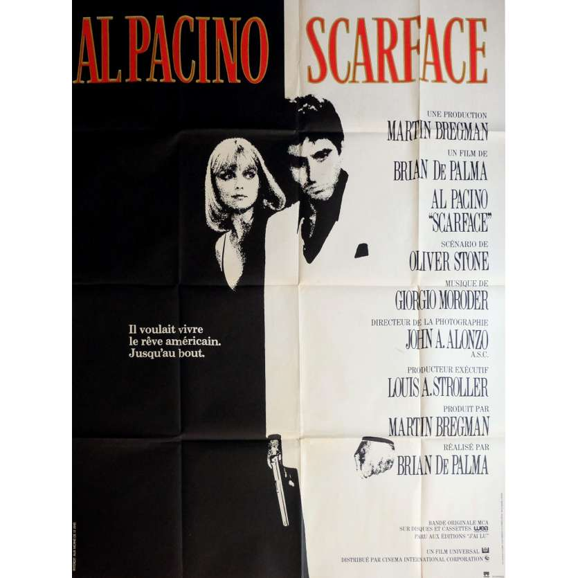 SCARFACE French Movie Poster 47x63 '83 Al Pacino, Brian de Palma