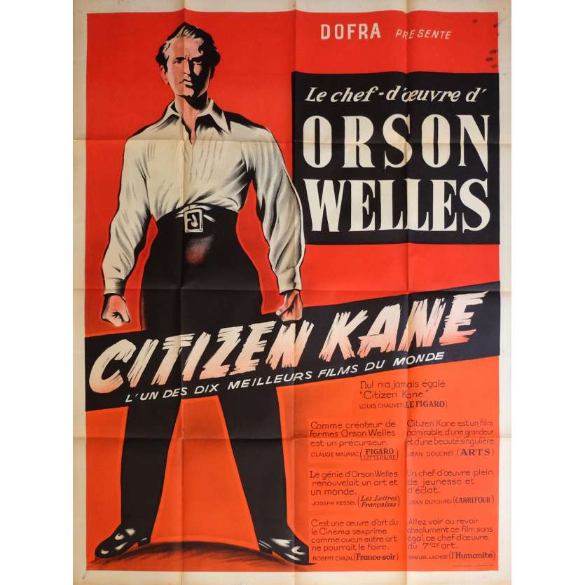 CITIZEN KANE Movie Poster 47x63 in. - R1953 - Orson Welles, Joseph Cotten