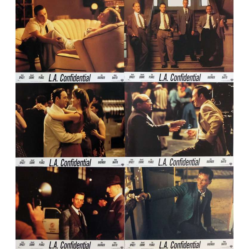 L.A. CONFIDENTIAL Lobby Cards x6 9x12 in. - 1997 - Curtis Hanson, Kevin Spacey