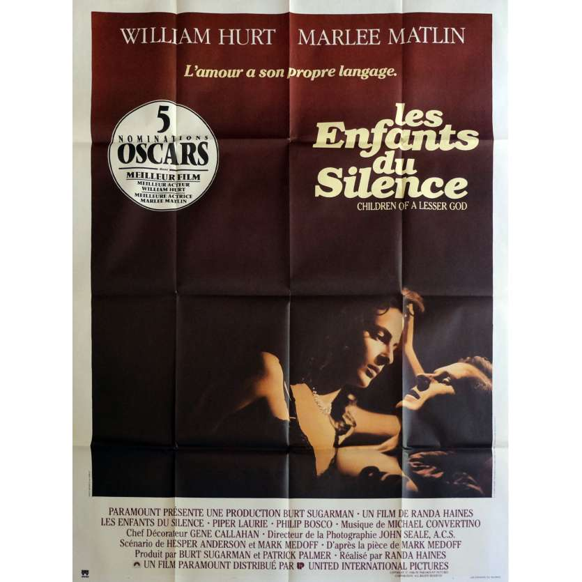 LES ENFANTS DU SILENCE Affiche de film 120x160 cm - 1986 - William Hurt, Randa Haines