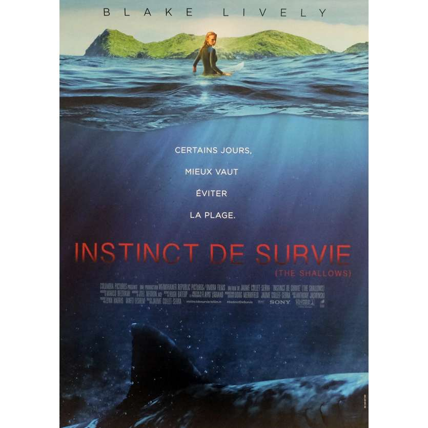 INSTINCT DE SURVIE - THE SHALLOWS Affiche de film 40x60 cm - 2016 - Blake Lively, Jaume Collet-Serra